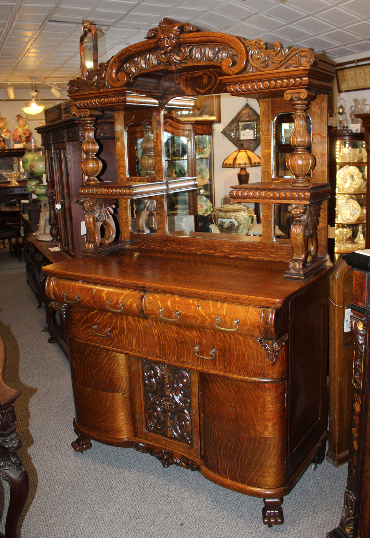 Antique Oak Sideboard Buffet (View 19 of 20)
