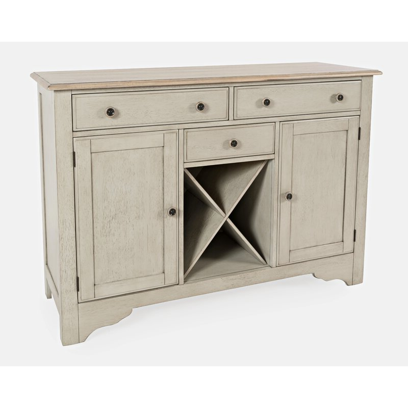 """August Grove® Ertac 54"""" Wide 3 Drawer Rubberwood Buffet Throughout Most Popular Brentley 54"""" Wide 1 Drawer Sideboards (View 2 of 20)"""