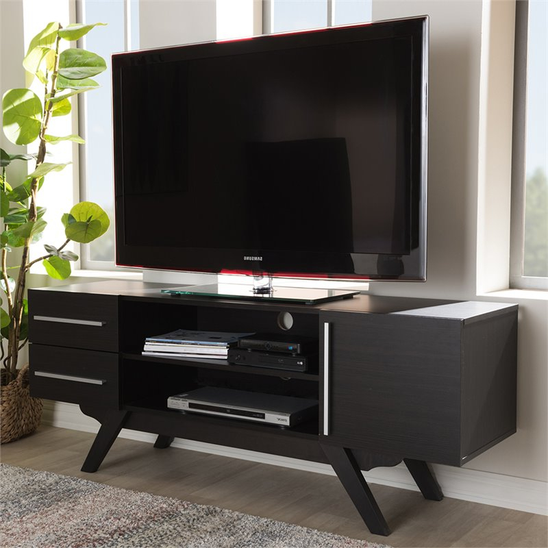 """Avenir Tv Stands For Tvs Up To 60"""" In Fashionable Baxton Studio Ashfield 60"""" Tv Stand In Dark Brown (View 5 of 20)"""
