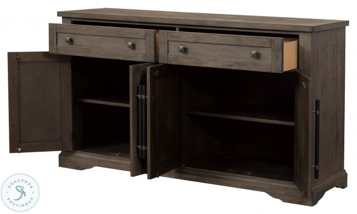 """Barkell 42"""" Wide 2 Drawer Acacia Wood Drawer Servers In Well Known Toulon Brown Server From Homelegance (View 11 of 20)"""