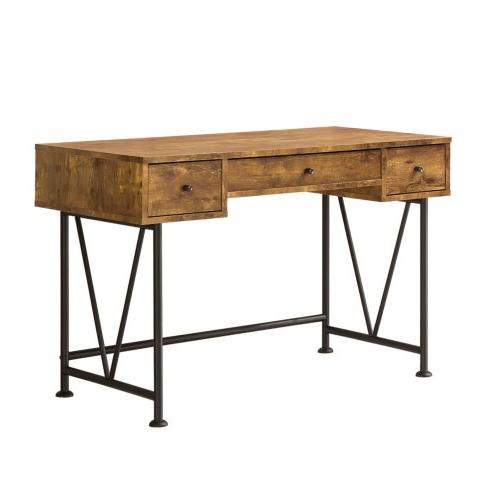 Barritt Industrial Style Writing Desk With 3 Drawers – Atl Intended For Recent Pixley  (View 14 of 20)