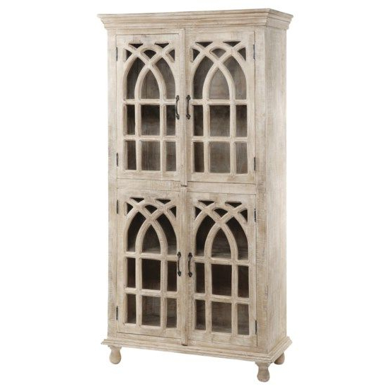 """Bengal Manor Light Mango Wood Cathedral Design 4 Door Intended For Popular Macdonald 36"""" Wide Mango Wood Buffet Tables (View 17 of 20)"""