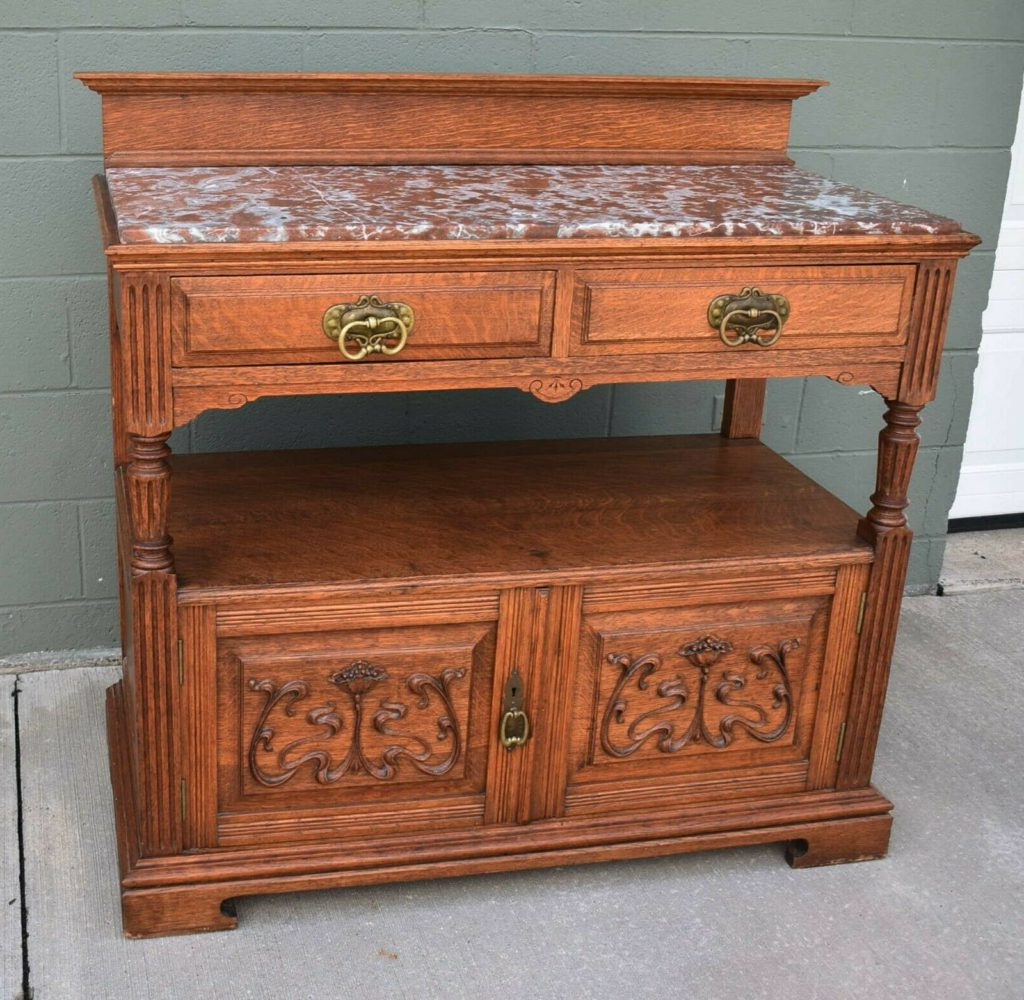 """Best And Newest Antique Oak Gothic Revival Marble Top Server Buffet Art Intended For Aayah 45"""" Wide 2 Drawer Servers (View 10 of 20)"""