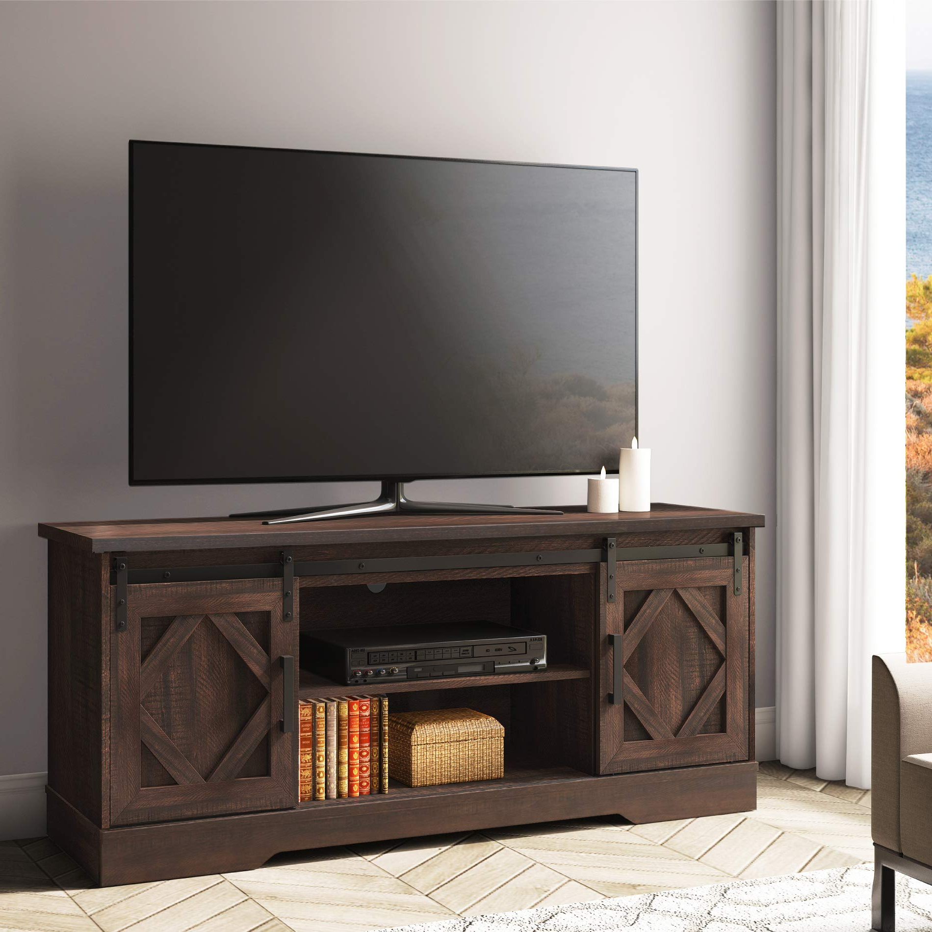 """Best And Newest Buckley Tv Stands For Tvs Up To 65"""" Throughout Fitueyes Sliding Barn Door Tv Stand For 65"""" Flat Screen (View 16 of 20)"""
