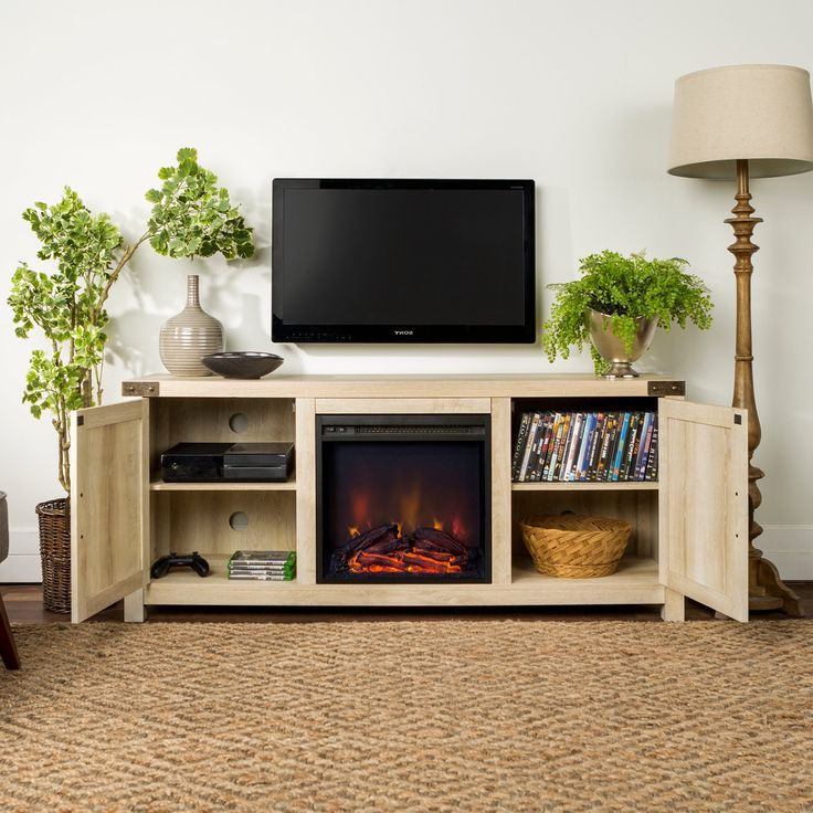 """Best And Newest Jace Tv Stands For Tvs Up To 58"""" Throughout White Oak 58 Inch Farmhouse Fireplace Tv Stand (View 12 of 20)"""