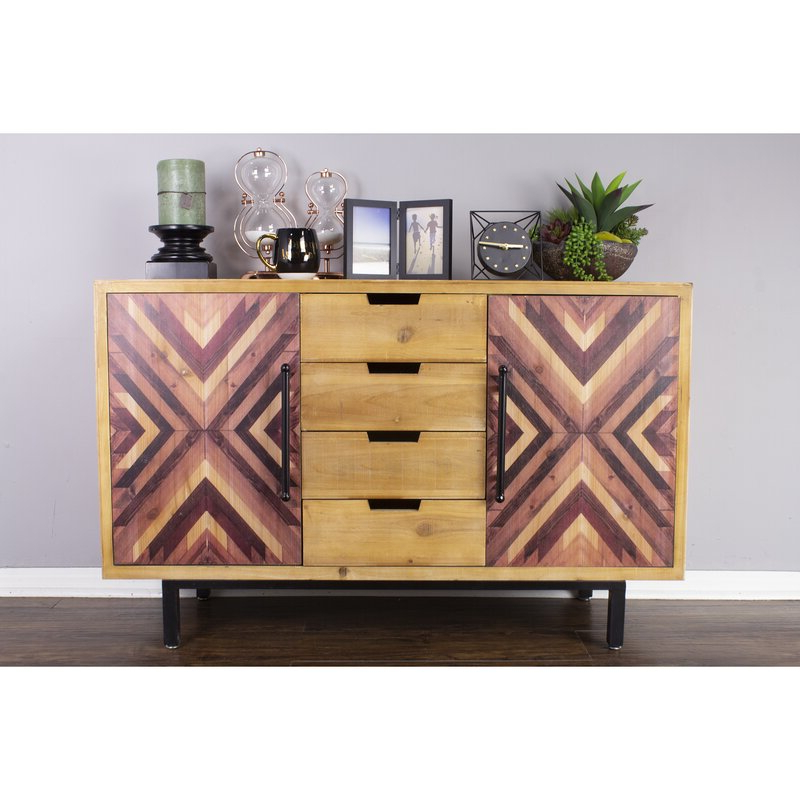 Best And Newest Millwood Pines Beckmann 4 Drawer 2 Door Wooden Sideboard Within Millwood Pines Floor Storage Cabinet With 2 Doors And 2 Open Shelves (View 17 of 20)