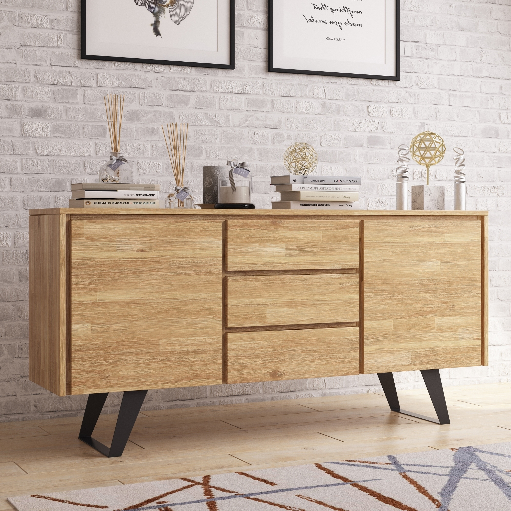 """Best And Newest Wyndenhall Mitchell Solid Acacia Wood And Metal 60 Inch Regarding Eskew 60"""" Wide Sideboards (View 14 of 20)"""