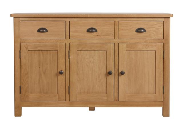 """Beverley Oak – 3 Door 3 Drawer Sideboard Regarding Widely Used Albright 58"""" Wide 3 Drawer Sideboards (View 3 of 20)"""