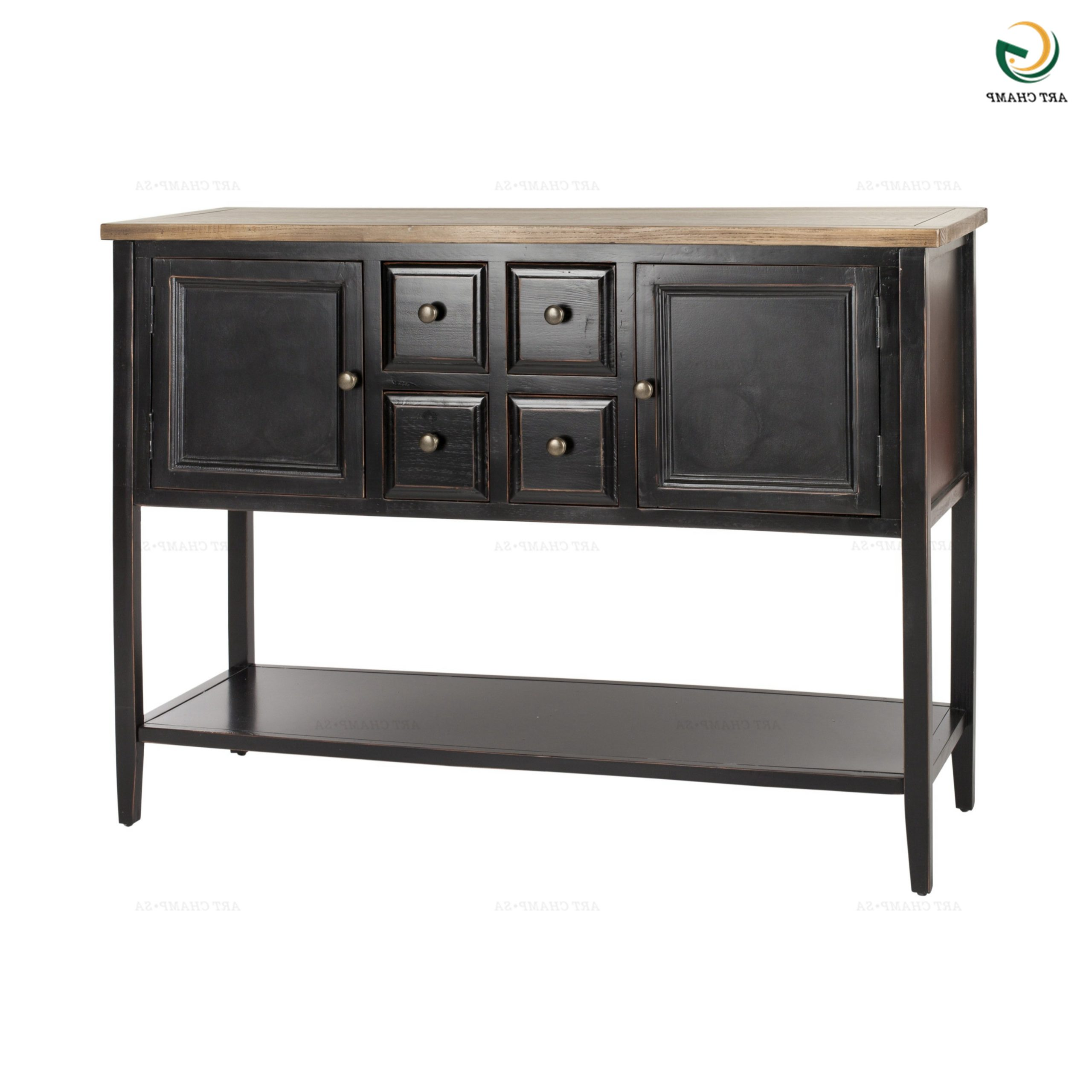 Black Antique Consoles Chic Sideboards And Buffet Tables With Most Recent Raymund (View 6 of 20)
