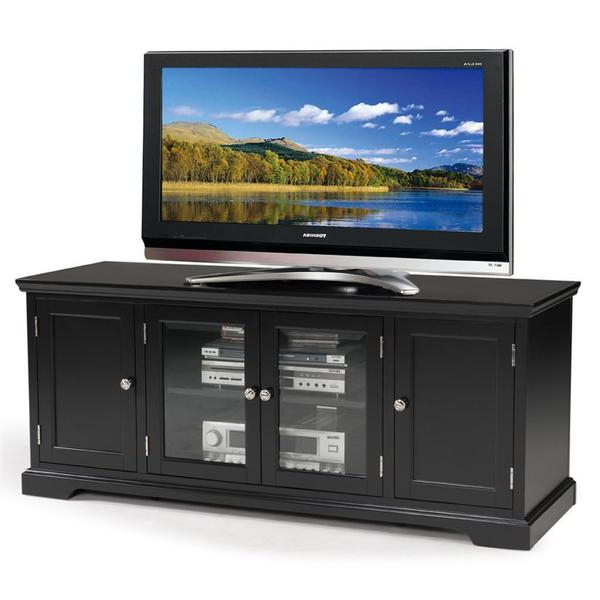 """Black Hardwood 60 Inch Tv Stand – Overstock – 8372705 In 2020 Miah Tv Stands For Tvs Up To 60"""" (View 15 of 20)"""