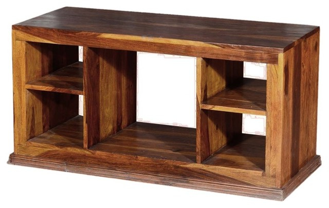 Blaire Solid Wood Tv Stands For Tvs Up To 75 Pertaining To Trendy Dallas Contemporary Solid Hardwood Open Back Tv Stand (View 18 of 20)