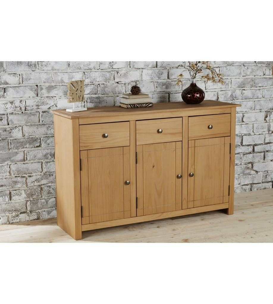 """Brand New Home Furniture Panama 3 Drawer Solid Pine Large Inside Most Recent Millstadt 52"""" Wide 3 Drawer Pine Wood Buffet Tables (View 9 of 20)"""