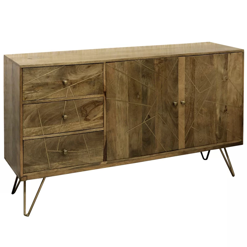 """Bruin 56"""" Wide 2 Drawer Sideboards In Fashionable Damarion 56"""" Wide 3 Drawer Mango Wood Credenza (View 3 of 20)"""