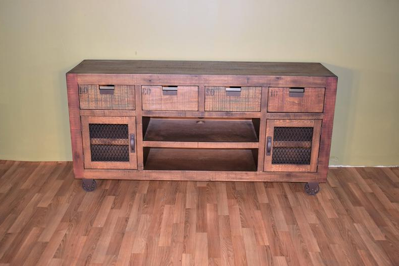 """Buckley Tv Stands For Tvs Up To 65"""" Throughout 2020 Rustic Style Solid Wood 65 Inch Tv Stand On Casters / (View 13 of 20)"""