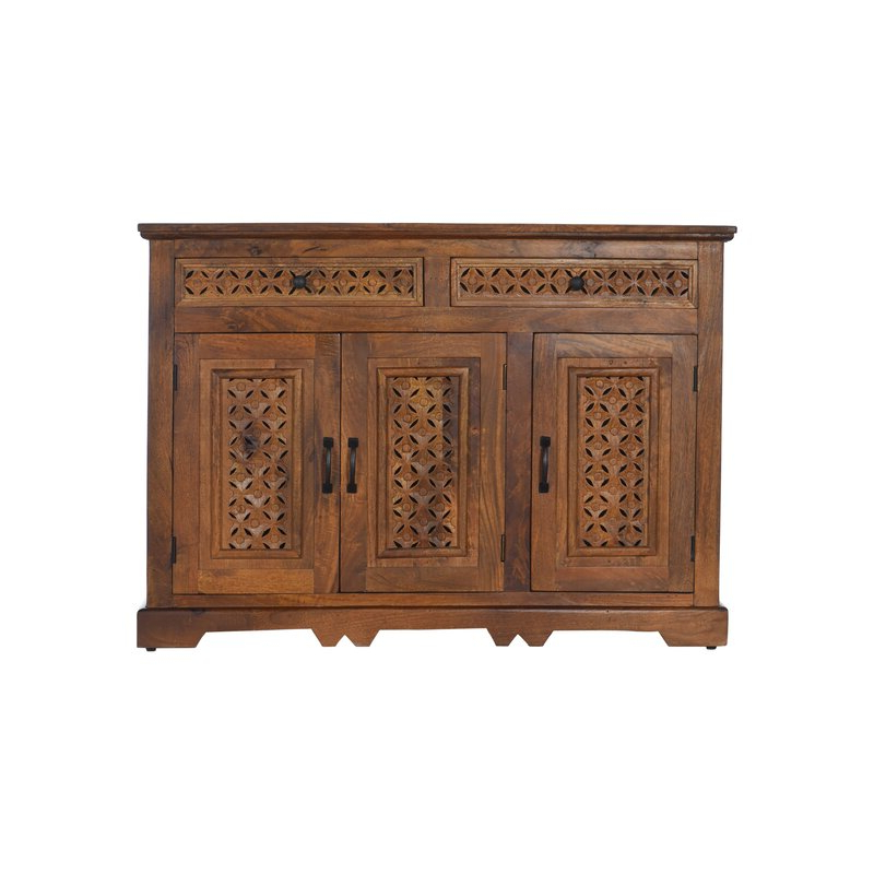 """Bungalow Rose Lorraine 48"""" Wide 2 Drawer Acacia Wood Inside Popular Lorraine 48"""" Wide 2 Drawer Acacia Wood Drawer Servers (View 2 of 17)"""
