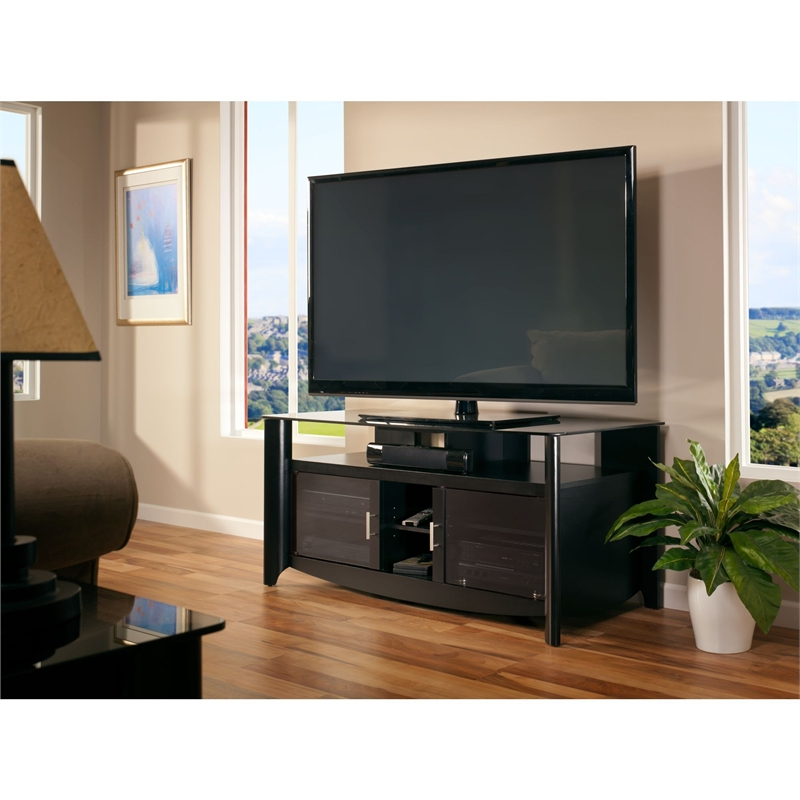 Bush Furniture Aero 56 Inch Tv Stand In Classic Black Intended For Famous Kemble Tv Stands For Tvs Up To (View 14 of 20)