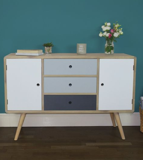 """Caila 60"""" Wide 3 Drawer Sideboards Intended For Most Recently Released Jasper Sideboard – Retro Style 2 Door 3 Drawer Sideboard (View 13 of 20)"""