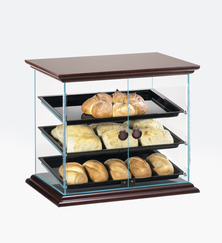 """Cal Mil 815 52 – 3 Tray Dark Wood Trim Display Case – Self Intended For Most Current Shirley Mills 52"""" Wide Buffet Tables (View 5 of 20)"""
