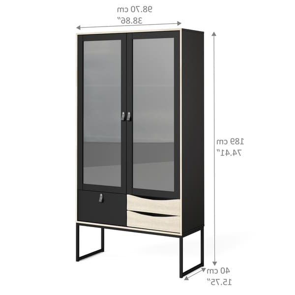 Carson Carrington Black Matte And Oak Structure 2 Door With Regard To Well Known Raymund (View 18 of 20)