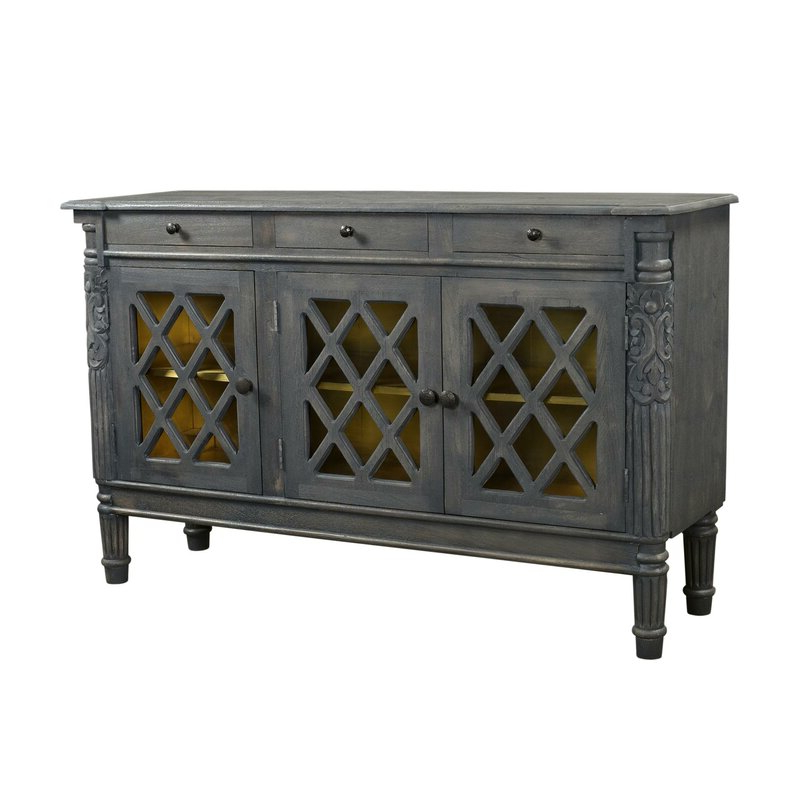 """Charlton Home® Gibney 58"""" Wide 3 Drawer Mango Wood Intended For Best And Newest Fritch 58"""" Wide Sideboards (View 20 of 20)"""