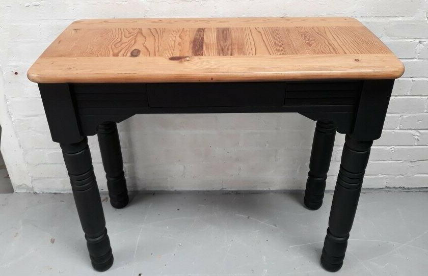 Chunky Solid Pine Hall Or Console Table Painted Black (View 17 of 20)