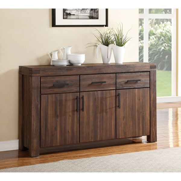 """Claire 70"""" Wide Acacia Wood Sideboards For Most Up To Date Shop Three Drawers Solid Acacia Wood Sideboard With Three (View 5 of 20)"""