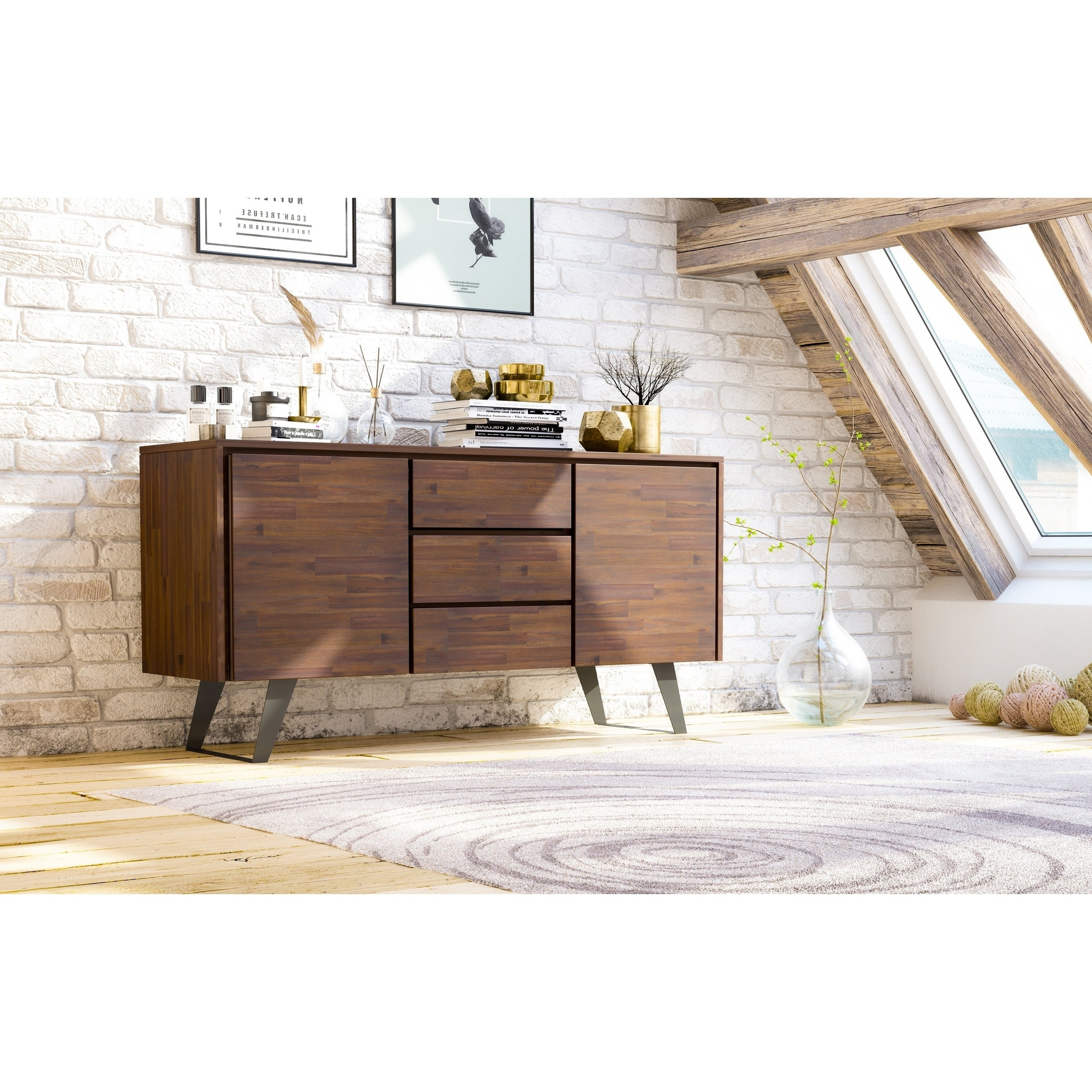 """Claire 70"""" Wide Acacia Wood Sideboards Within Most Up To Date Wyndenhall Mitchell Solid Acacia Wood And Metal 60 Inch (View 9 of 20)"""