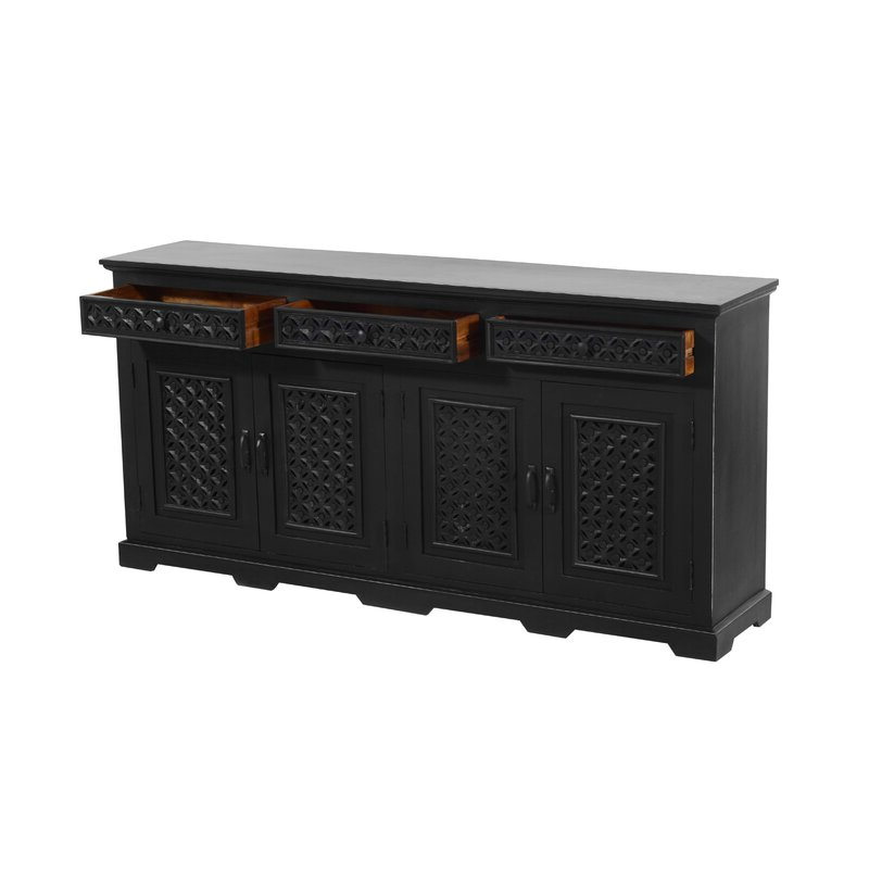 """Claire 70"""" Wide Acacia Wood Sideboards Within Popular Bungalow Rose Chevell 70"""" 3 Drawer Acacia Wood Sideboard (View 7 of 20)"""