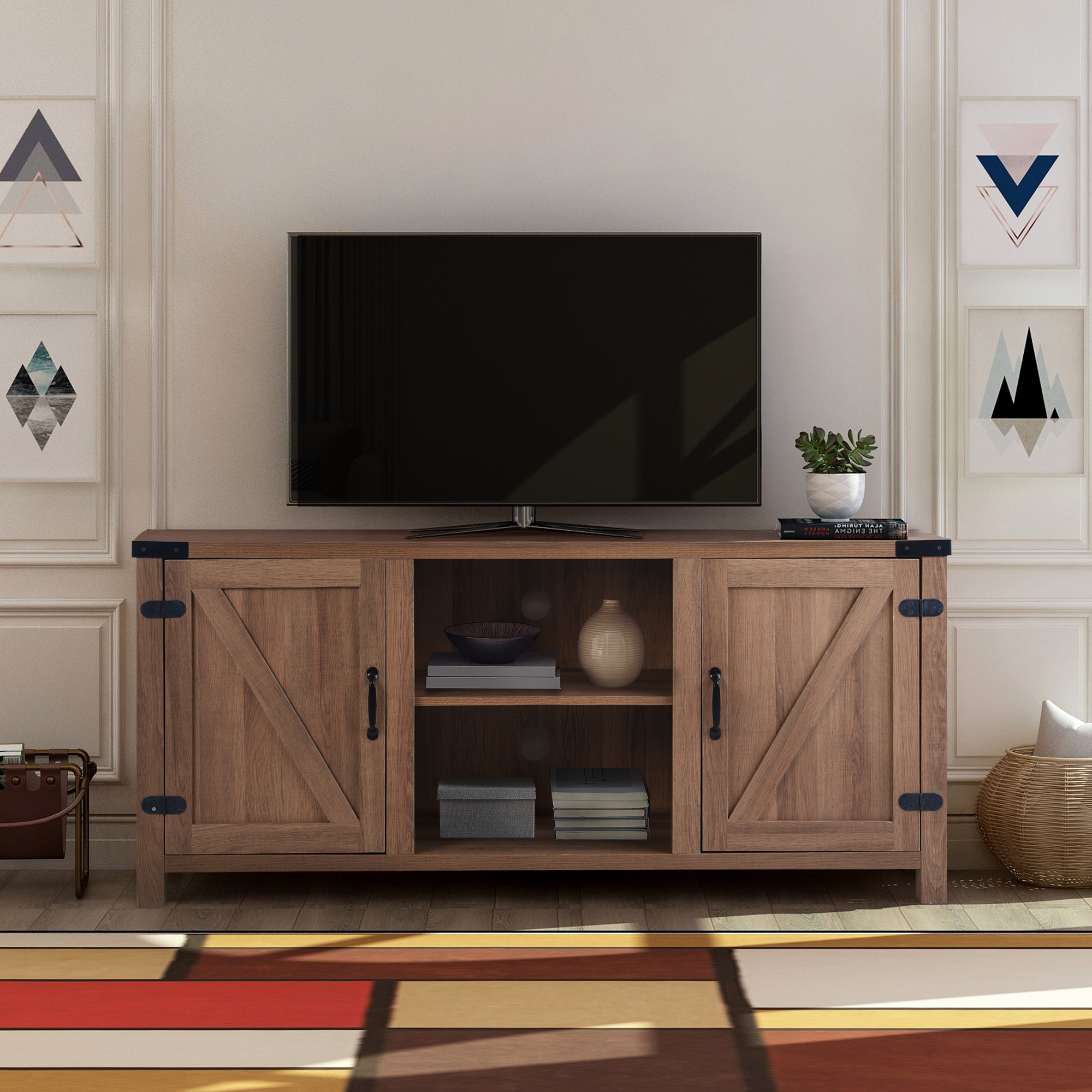 """Clearance! Modern Tv Stand Cabinet, Farmhouse Tv Stand For In Well Liked Jace Tv Stands For Tvs Up To 58"""" (View 9 of 20)"""