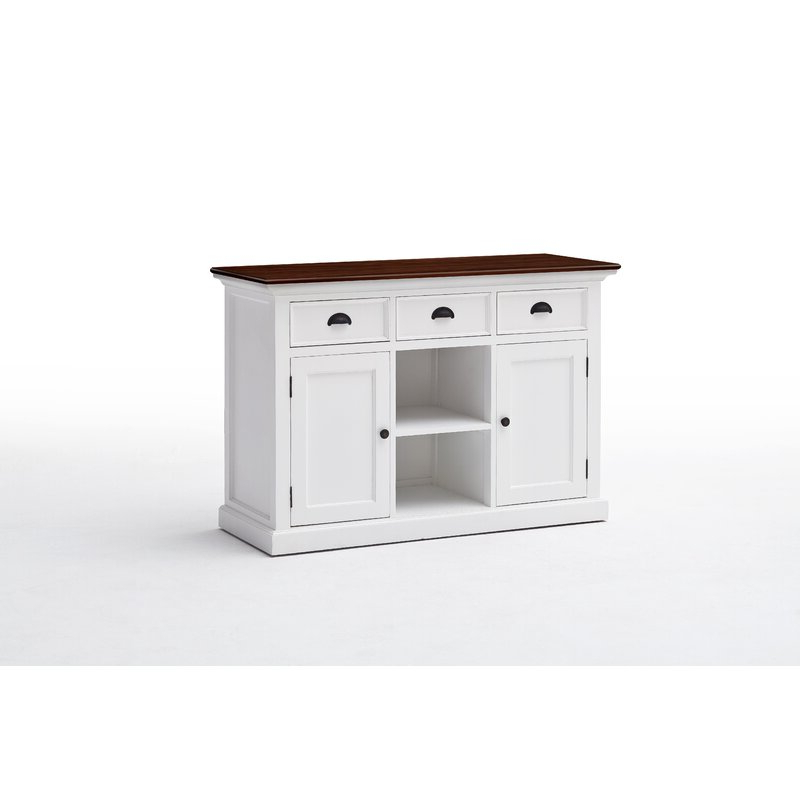 """Coastal Farmhouse Sorrento 49"""" Wide 3 Drawer Mahogany Wood Intended For Most Current Sorrento  (View 2 of 16)"""