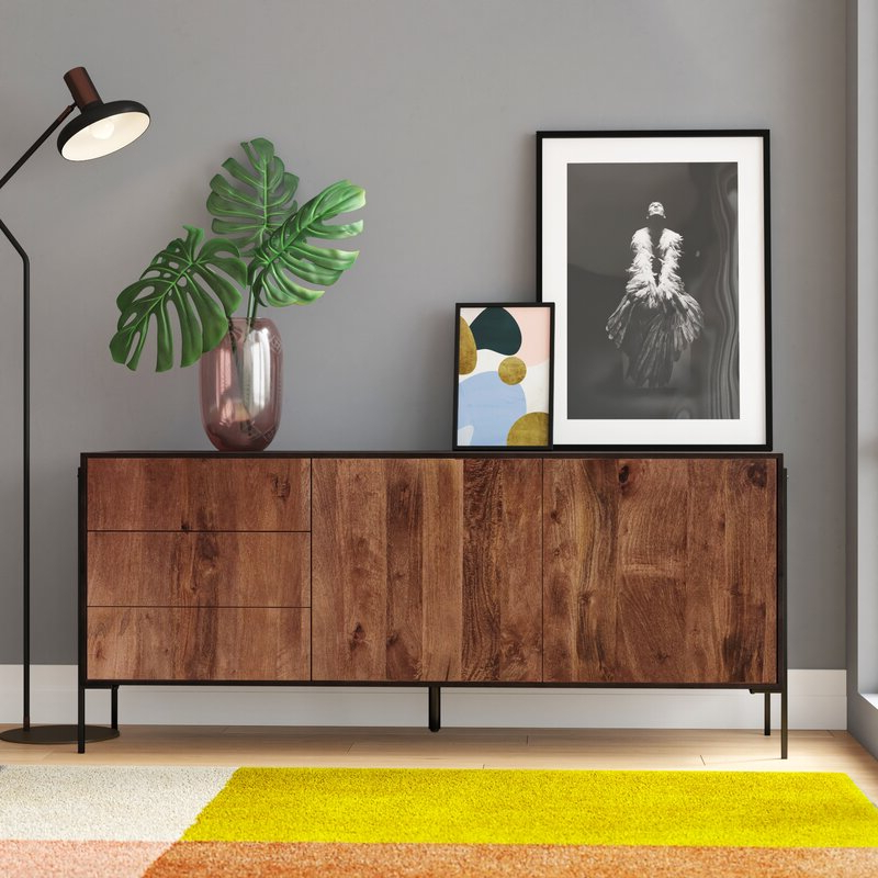"Colerane 66"" Wide 3 Drawer Mango Wood Buffet Table (View 16 of 20)"