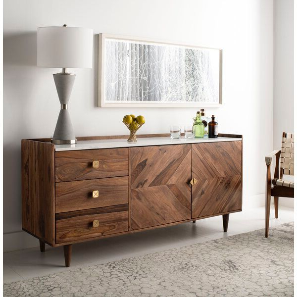 """Cora Rose 62.9"""" Wide 3 Drawer Acacia Wood Sideboard In Inside Current Cora Rose (View 3 of 20)"""