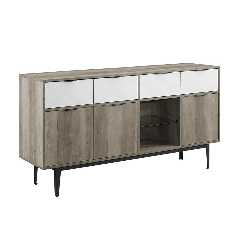 """Corrigan Studio® Boley 60"""" Wide 2 Drawer Sideboard With Regard To Best And Newest Myndi 60"""" Wide Sideboards (View 15 of 20)"""