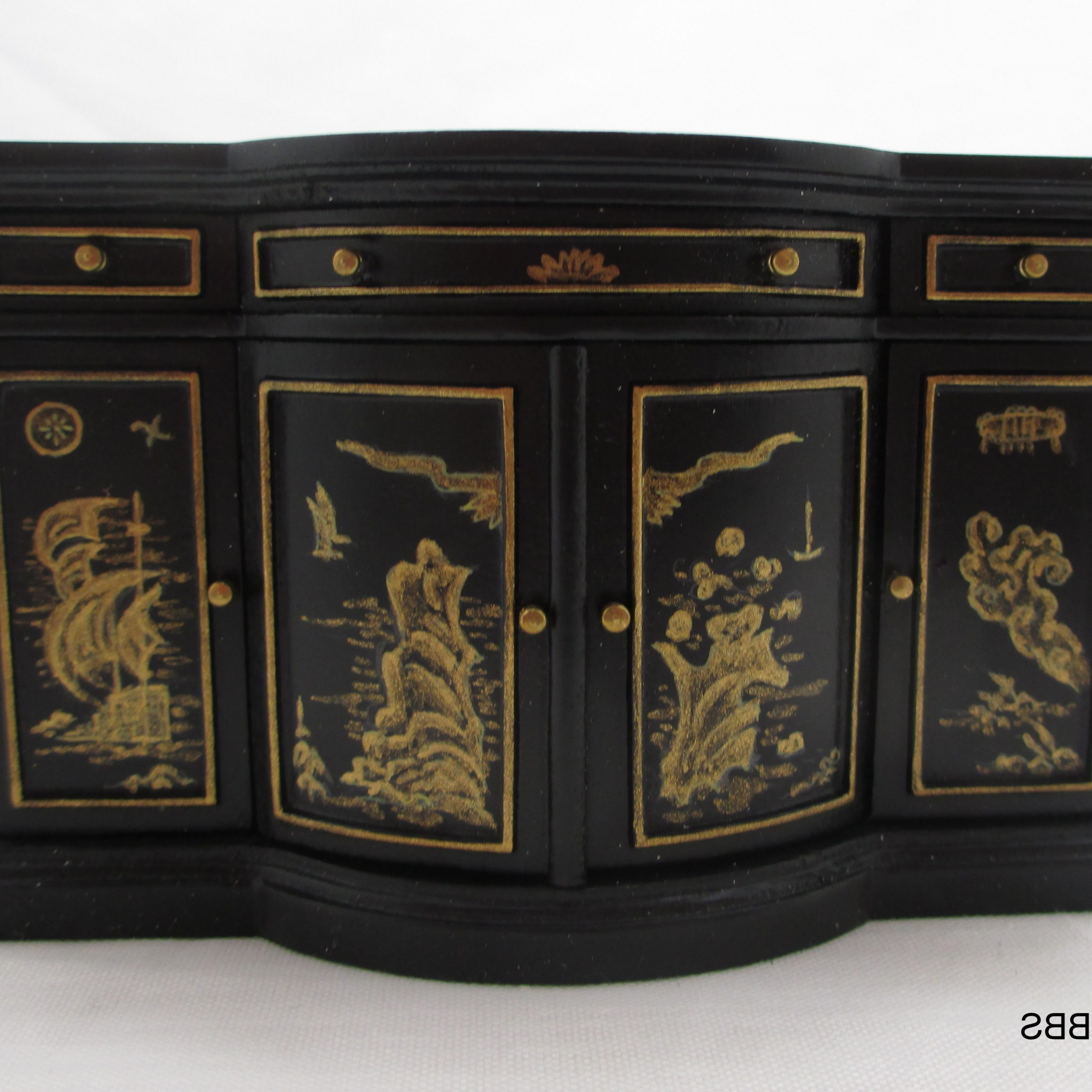 """Credenza With Chinese Style Finish – Black Lacquer 1:12 With Regard To Best And Newest Fugate 48"""" Wide 4 Drawer Credenzas (View 18 of 20)"""