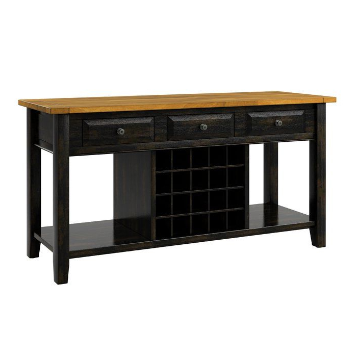 """Current Aayah 45"""" Wide 2 Drawer Servers With Regard To Fortville 62"""" Wide 3 Drawer Rubberwood Sideboard (with (View 8 of 20)"""
