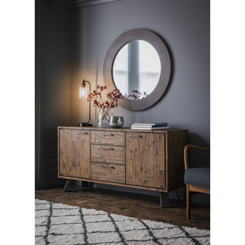 """Current Connie Rustic Acacia Timber & Metal 2 Door 3 Drawer Inside Albright 58"""" Wide 3 Drawer Sideboards (View 19 of 20)"""