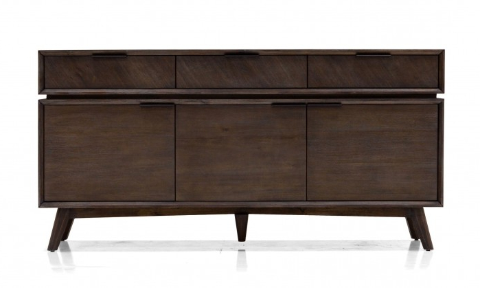 """Current Fahey 58"""" Wide 3 Drawer Acacia Wood Sideboards For Modrest Roger – Mid Century Acacia Buffet (View 17 of 20)"""