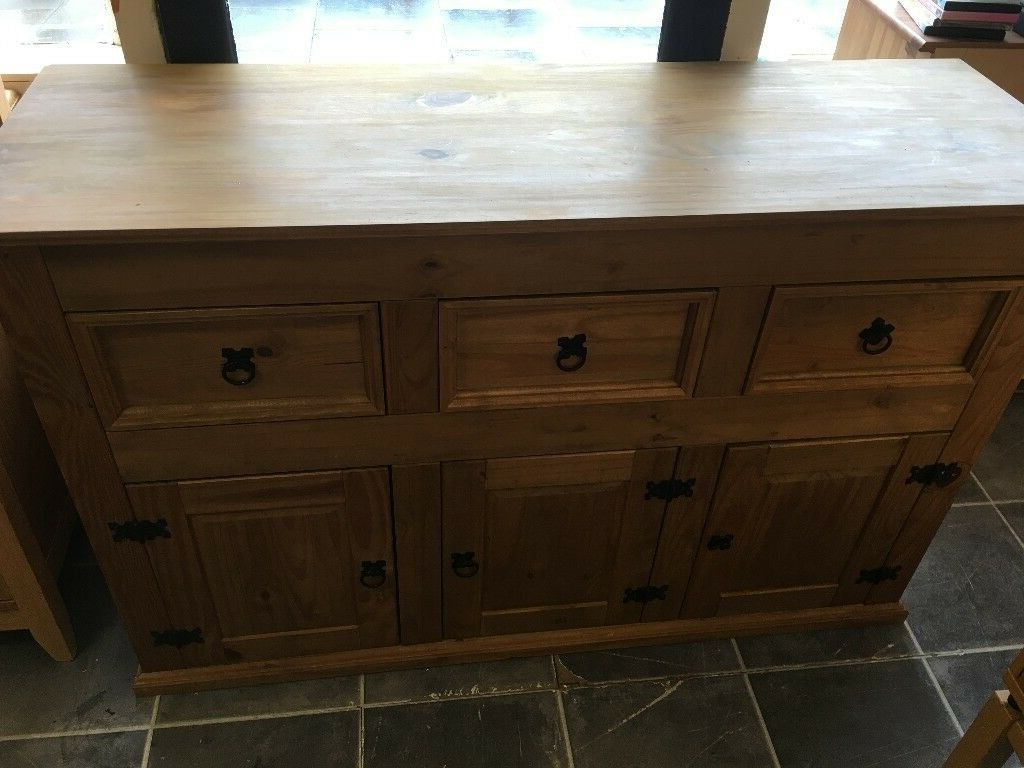 """Current Mexican Pine 3 Drawer 3 Door Sideboard In Very Good Intended For Millstadt 52"""" Wide 3 Drawer Pine Wood Buffet Tables (View 7 of 20)"""