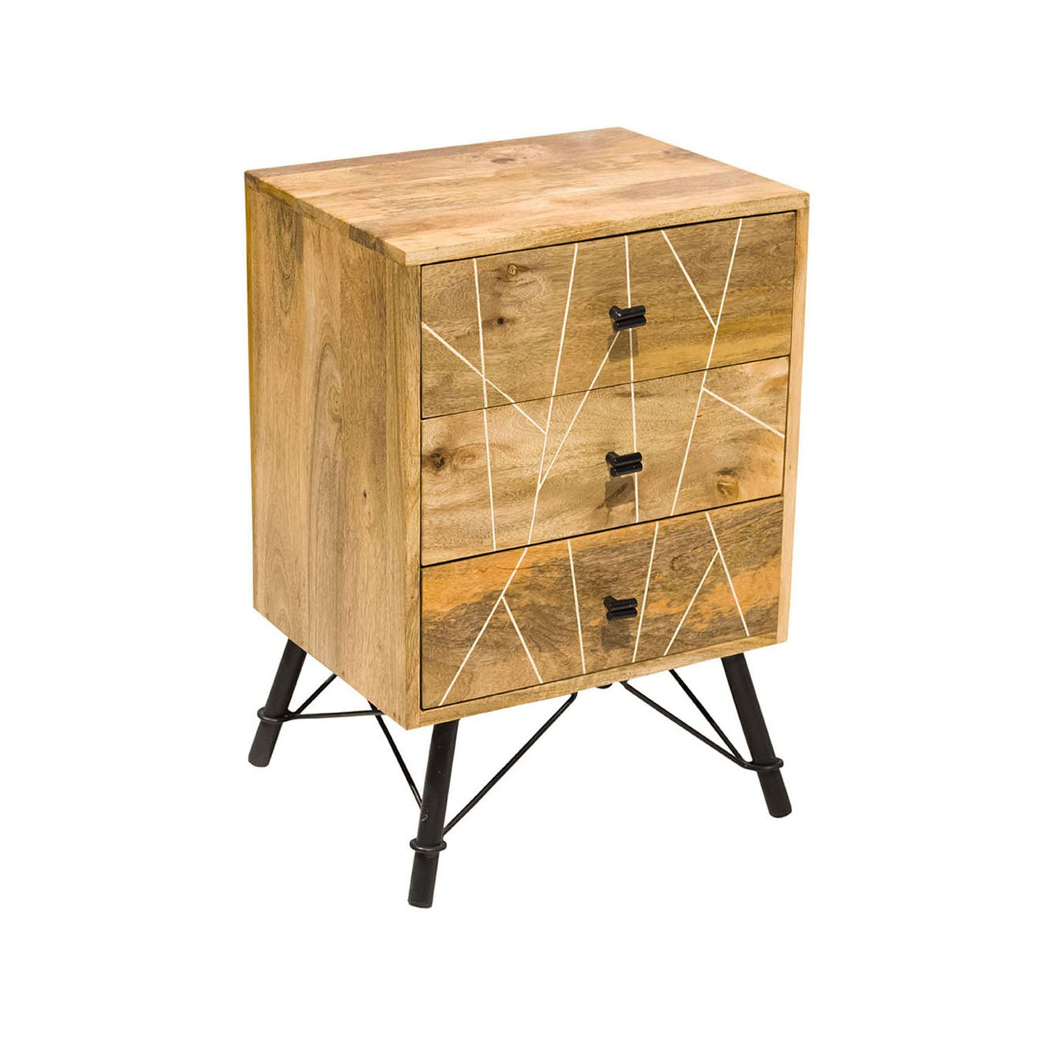 """Current Mosaic 3 Drawer Nightstand/iron & Mango Wood/natural For Aneisa 70"""" Wide 6 Drawer Mango Wood Sideboards (View 16 of 20)"""