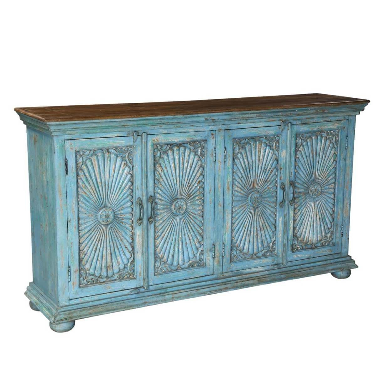 """Current Sky Blue Starburst Mango Wood 70"""" Sideboard Cabinet With Regard To Strock 70"""" Wide Mango Wood Sideboards (View 2 of 20)"""