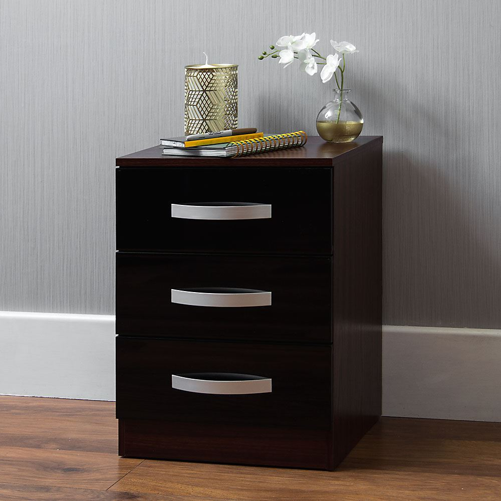 """Current Yukon 58"""" Wide 2 Drawer Pine Wood Sideboards Regarding Hulio 3 Drawer Chest Bedside High Gloss Wood Bedroom Side (View 17 of 20)"""