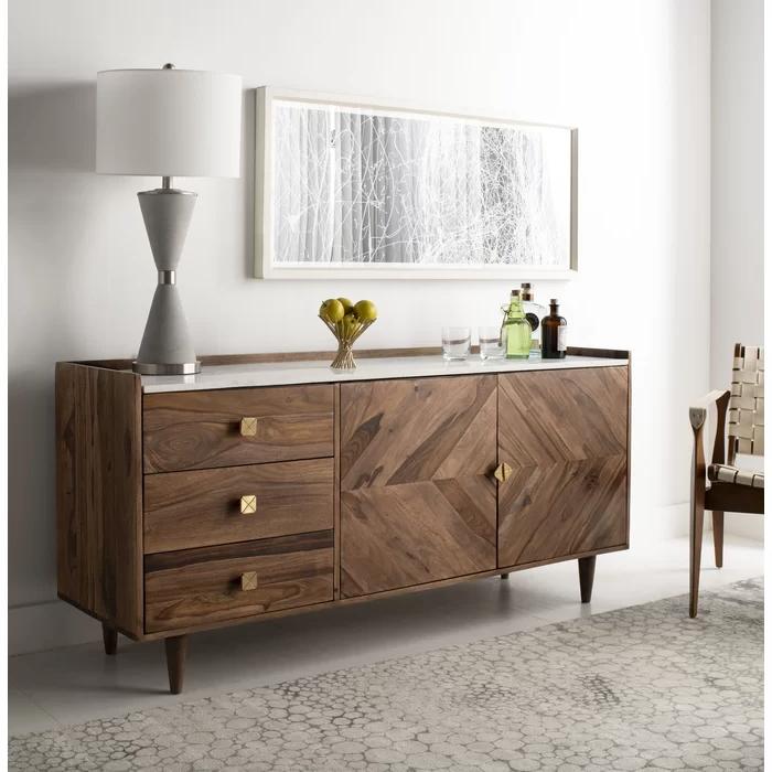 "Пин На Доске Casa De Cole Inside Trendy Fahey 58"" Wide 3 Drawer Acacia Wood Sideboards (View 4 of 20)"