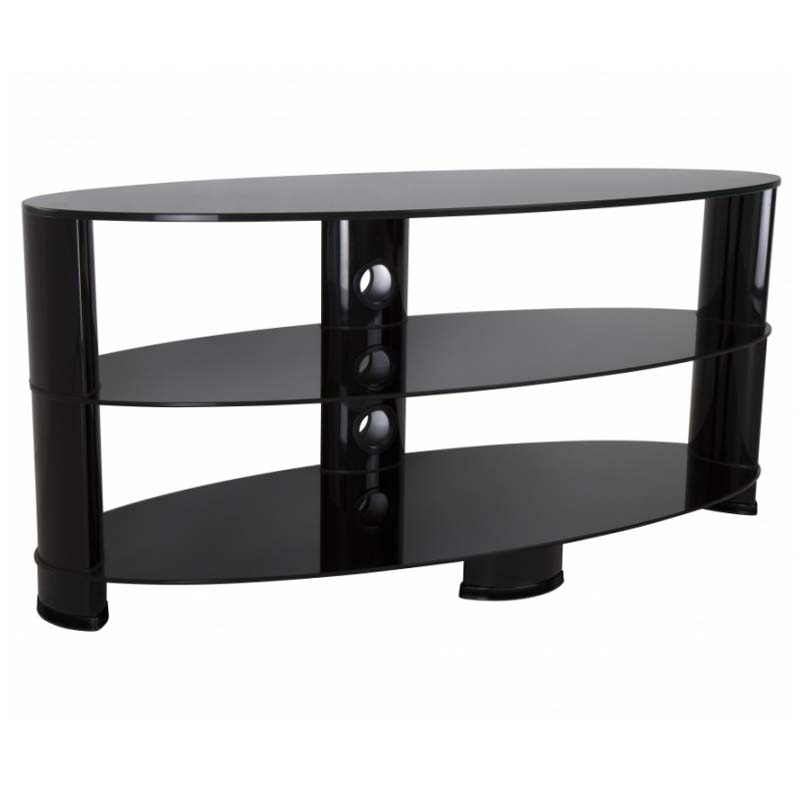 """Dallas Tv Stands For Tvs Up To 65"""" Pertaining To Most Recently Released Avf Oval Black Glass 65 Inch Tv Stand (glossy Black (View 18 of 20)"""