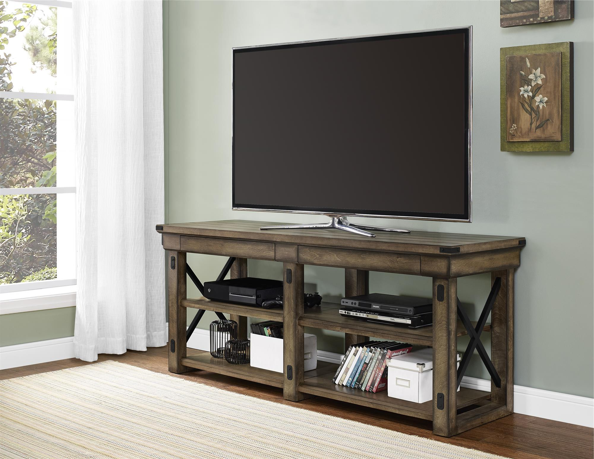 """Dallas Tv Stands For Tvs Up To 65"""" Regarding Most Popular Dorel Home Furnishings Wildwood Rustic Gray Tv Stand (View 4 of 20)"""