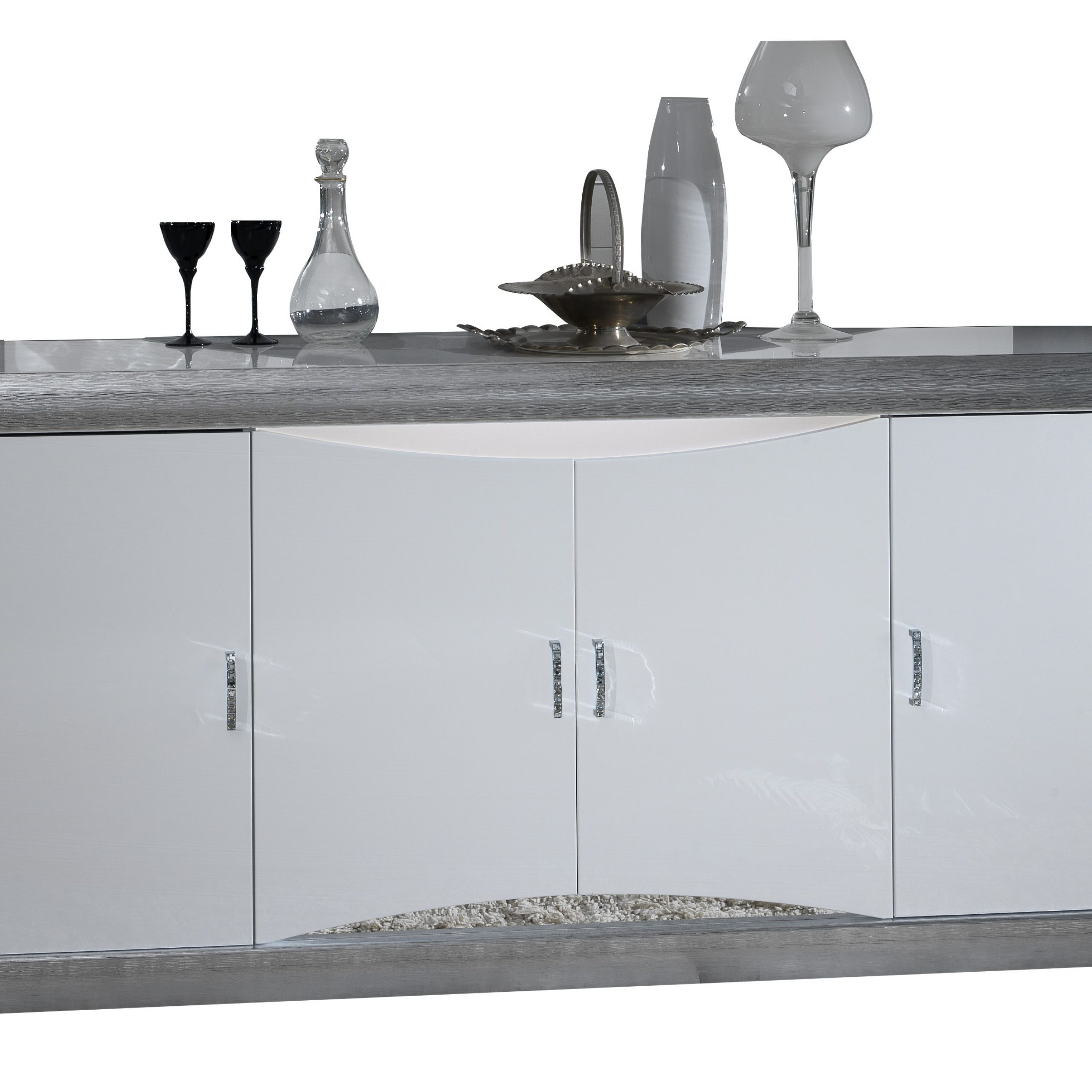 """Dane Italian White High Gloss Sideboard W 199cm For Most Recent Pardeesville 55"""" Wide Buffet Tables (View 19 of 20)"""