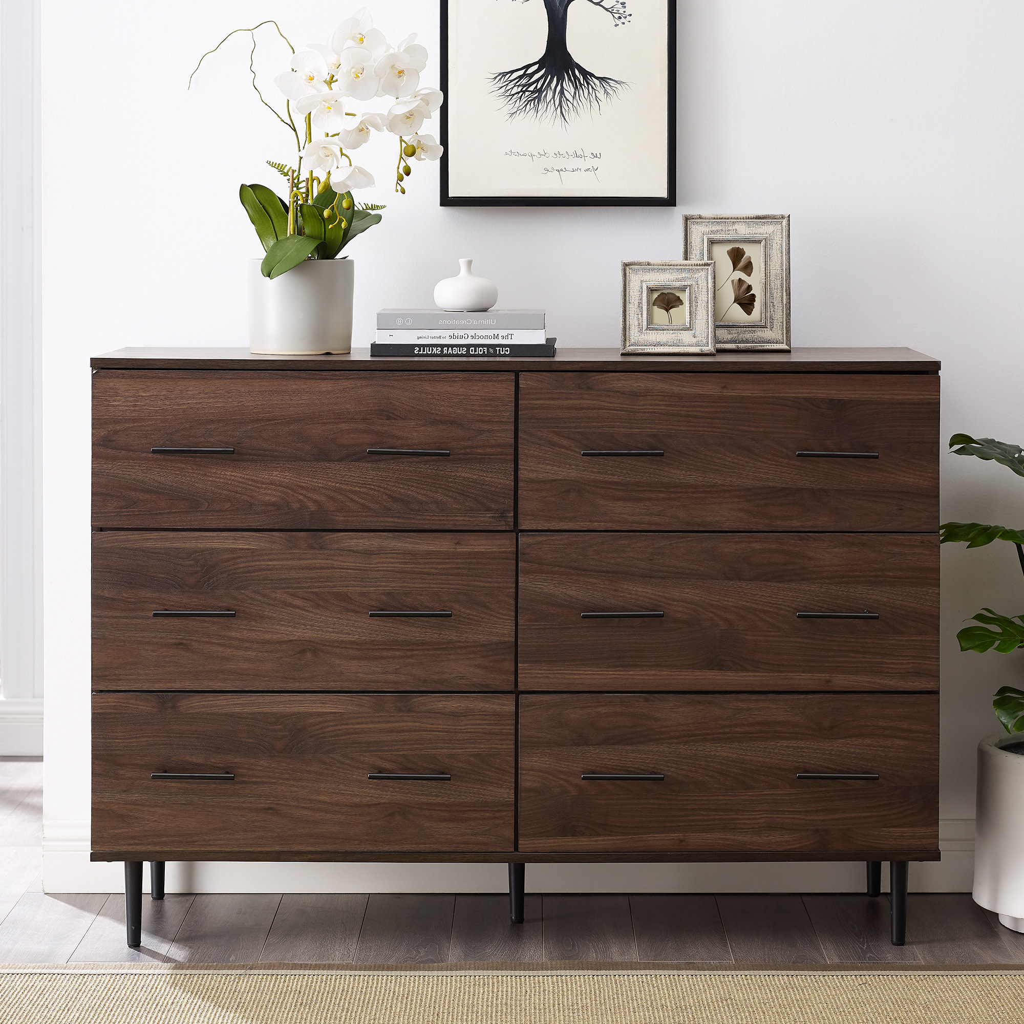 """Delacora We Bdu52sv6d 52""""w Farmhouse Modern 6 Drawer Throughout Well Liked Milena 52"""" Wide 2 Drawer Sideboards (View 4 of 20)"""