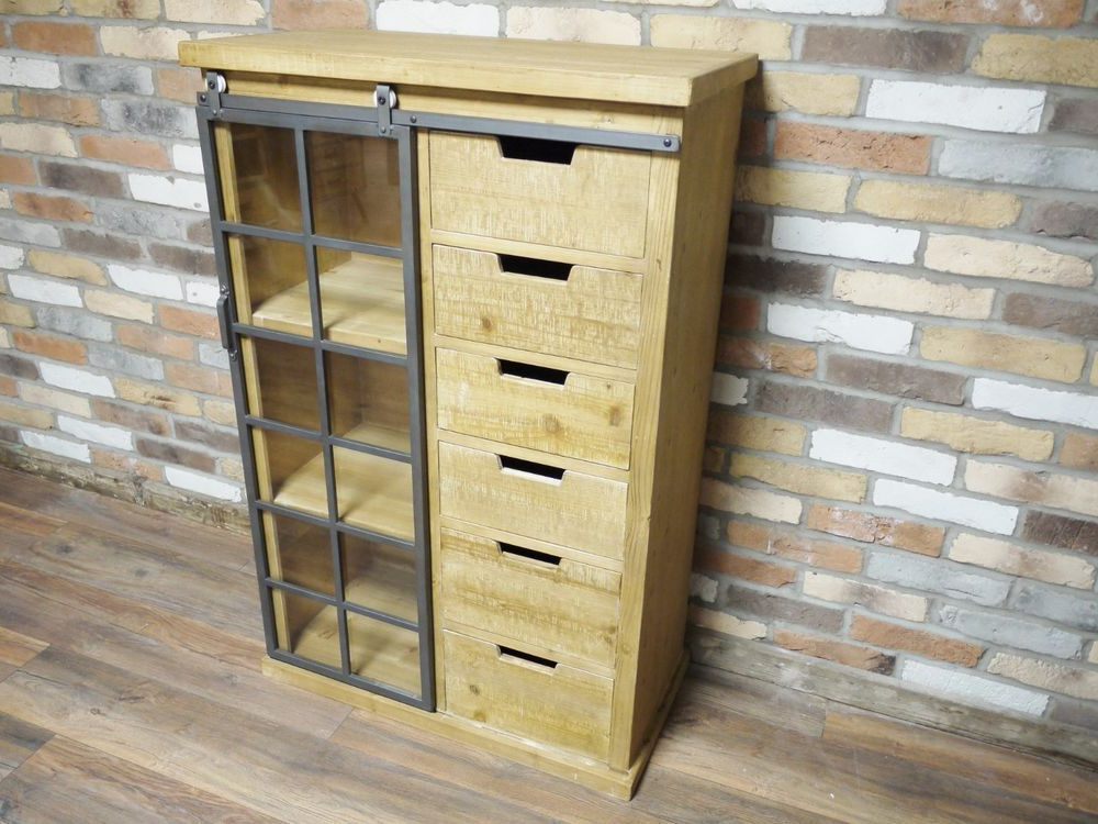 Details About Industrial Style Display Tall Cabinet Within 2019 Wales Storage Sideboards (View 20 of 20)