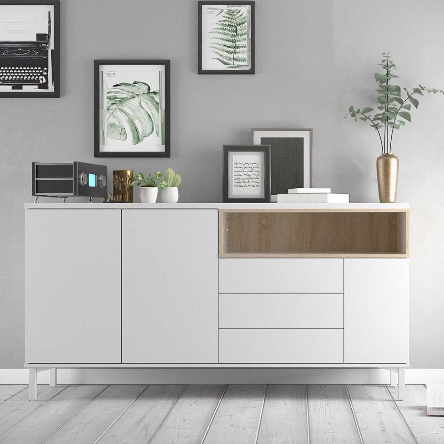"""Dostie 48"""" Wide Buffet Tables Intended For 2019 Modern White And Oak Large Wide Sideboard Buffet 3 Drawers (View 10 of 20)"""