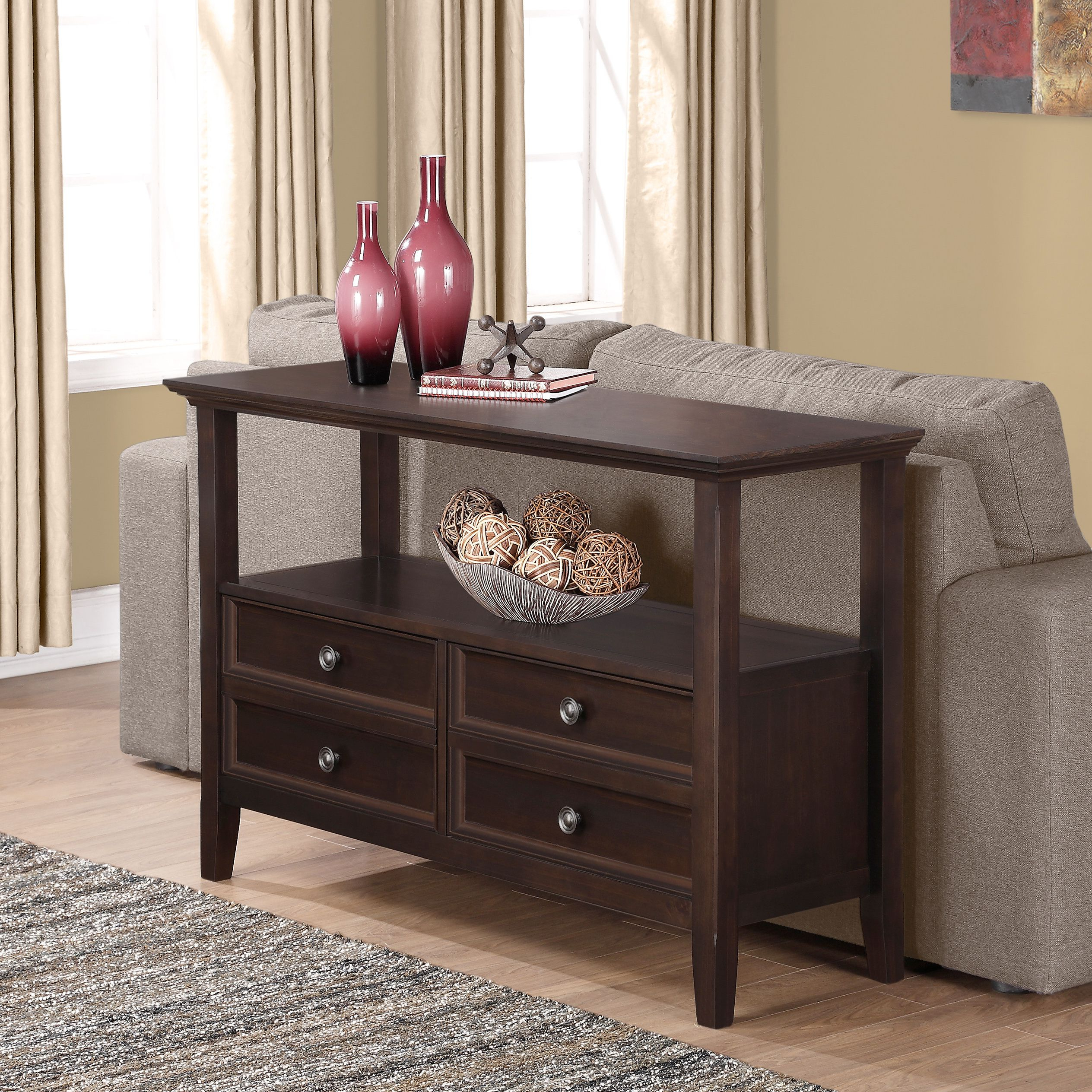 """Dostie 48"""" Wide Buffet Tables Throughout Most Recently Released Wyndenhall Halifax Solid Wood 48 Inch Wide Transitional (View 17 of 20)"""
