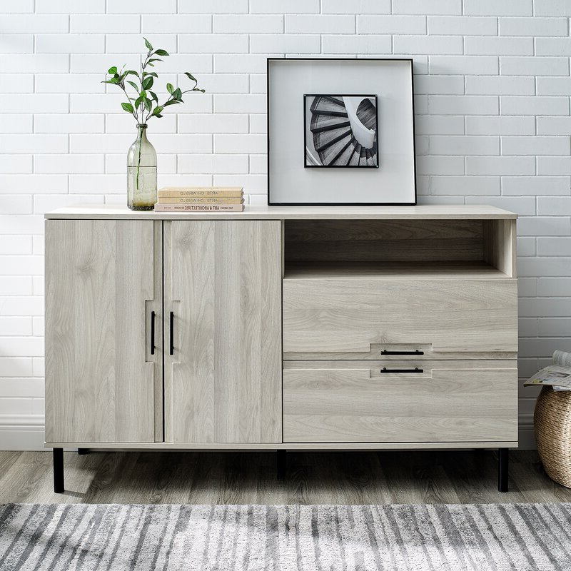 """Ebern Designs Bruin 56"""" Wide 2 Drawer Sideboard & Reviews Regarding Widely Used Ismay 56"""" Wide 3 Drawer Sideboards (View 3 of 20)"""